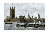 Westminster and the Houses of Parliament from the Thames, 1800s Giclee Print