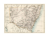 Map of New South Wales, Australia, 1870s Giclee Print