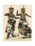 Devil Dancers and Drummer in Ceylon (Sri Lanka), 1800s Giclee Print