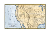 Map of the Western Frontier in the United States, 1800s Giclee Print