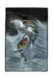 """Two Mermaids Playing in the Waves, """"A Nixie's Legend"""" Reproduction procédé giclée"""