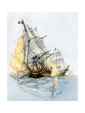 "American Ship ""Boston"" Firing on ""Le Berceau"" in an Undeclared Naval War with France, 1800 Giclee Print"