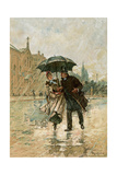 Couple Walking in the Rain on an English City Street, 1800s Giclee Print