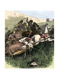 Comanches Escaping with their Chief, US Army under General John Davidson in Texas Panhandle, 1874 Giclee Print
