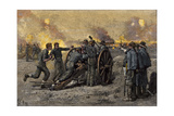 Confederate's on Marye's Hill Firing on Union Troops Attacking Fredericksburg, Virginia, 1862 Giclee Print