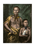 Yamacraw Chief Tomo-Chichi Mico and His Son Giclee Print