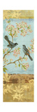 Catbirds and Blooms Panel Art by Pamela Gladding