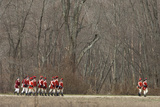 British Redcoat Reenactors Marching to Engage Colonial Minutemen in Battle of Concord, Concord, MA Photographic Print