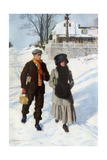 Boy Walking a Girl to School on a Winter Morning, Early 1900s Giclee Print