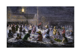 Swimming by Electric Light at Coney Island, New York, 1880s Giclee Print
