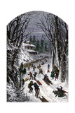 Sledding Down a Snowy Village Road, 1800s Giclee Print