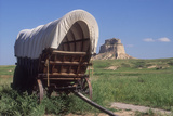 Covered Wagon on the Prairie Crossing of Oregon Trail and Mormon Trail Near Scotts Bluff, Nebraska Photographic Print