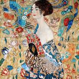 Frau mit Fächer Poster von Gustav Klimt