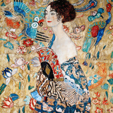 Woman with Fan Posters av Gustav Klimt