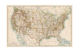 United States Map, 1870s Giclee Print
