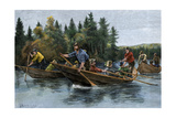 A Bateau (Boat) Race in the North Woods, 1800s Giclée-Druck