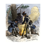 Dispirited American Soldiers Huddle around a Campfire at Valley Forge Giclee Print
