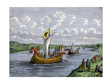 Viking Settlers Exploring the North American Coast Giclee Print