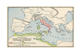 Territories of Rome and Carthage at the Outset of the Punic Wars, 264 BC Giclee Print