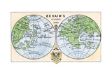Diagram of Globe by Martin Behaim, Without the New World, Created in 1492 Giclée-tryk