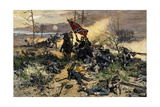 Confederate Soldiers on the Line of Battle with Fate Against Them Impression giclée