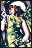 Junges Mädchen in Grün Jeune Fille en Vert Leinwandtransfer mit Rahmung von Tamara de Lempicka