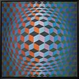 Squares Innrammet lerretstrykk av Victor Vasarely