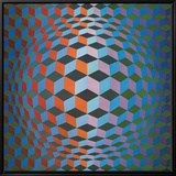 Squares Framed Canvas Print by Victor Vasarely