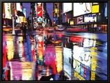 Times Square en couleurs Reproduction sur toile encadrée