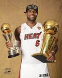 2014 NBA Finals LeBron James MVP Trophy & Championship Trophy - Miami Heat Photo