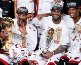 Miami, FL - June 20: Dwyane Wade, LeBron James and Chris Bosh Photographic Print