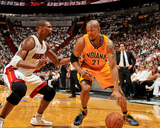 Miami, FL - May 24: David West and Chris Bosh Photo by Issac Baldizon