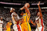 Miami, FL - May 24: David West, LeBron James and Mario Chalmers Photographic Print by Issac Baldizon