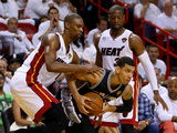 Miami, FL - June 20: Danny Green, Chris Bosh and Dwyane Wade Photographic Print by Mike Ehrmann