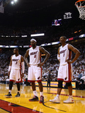 Miami, FL - May 24: Dwyane Wade, LeBron James and Chris Bosh Photographic Print by Mike Ehrmann