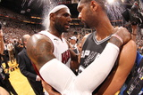 Miami, FL - June 20: LeBron James and Tim Duncan Photographic Print