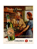 1940s USA Carling Ale Magazine Advertisement Giclee-vedos