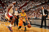 Miami, FL - May 24: D.J. Augustin and LeBron James Photographic Print by Issac Baldizon