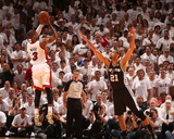 Miami, FL - June 20: Dwyane Wade and Tim Duncan Photo