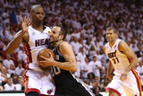 Miami, FL - June 20: Manu Ginobili and Chris Bosh Photographic Print by Mike Ehrmann