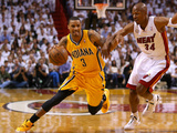 Miami, FL - May 24: George Hill and Ray Allen Photographic Print by Mike Ehrmann