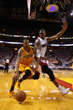 Miami, FL - May 24: George Hill and Chris Bosh Photographic Print by Mike Ehrmann