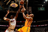 Miami, FL - May 24: David West and Chris Bosh Photographic Print by Issac Baldizon