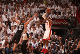 Miami, FL - June 20: LeBron James and Tim Duncan Photographic Print by Nathaniel S. Butler