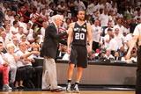 Miami, FL - June 20: Head Coach Gregg Popovich of the San Antonio Spurs talks with Manu Ginobili Photographic Print