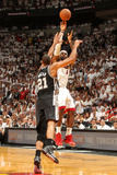 Miami, FL - June 20: LeBron James and Tim Duncan Photographic Print by Issac Baldizon