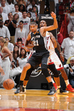 Miami, FL - June 20: Tim Duncan and Chris Bosh Photographic Print