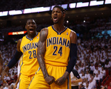 Miami, FL - May 24: Paul George and Ian Mahinmi Photographic Print by Mike Ehrmann