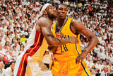 Miami, FL - May 24: LeBron James and Ian Mahinmi Photographic Print by Issac Baldizon