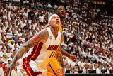 Miami, FL - May 24: Chris Andersen and Roy Hibbert Photographic Print by Issac Baldizon